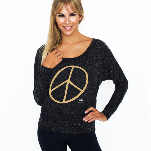 BE PEACE MARBLE BLACK CLASSIC FLOWY LONG