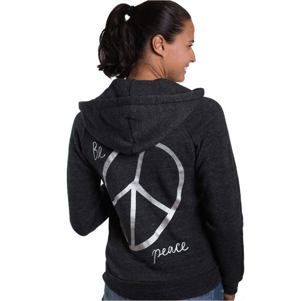 BE PEACE BACK TRIBLEND FLEECE ZIP HOODIE - Funky Yoga  Gear & Accessories