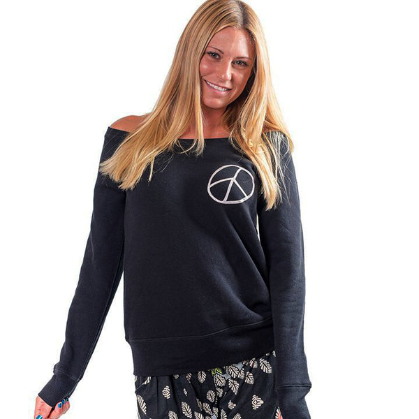 BE PEACE FRONT & BACK OFF THE SHOULDER TRI BLEND FLEECE