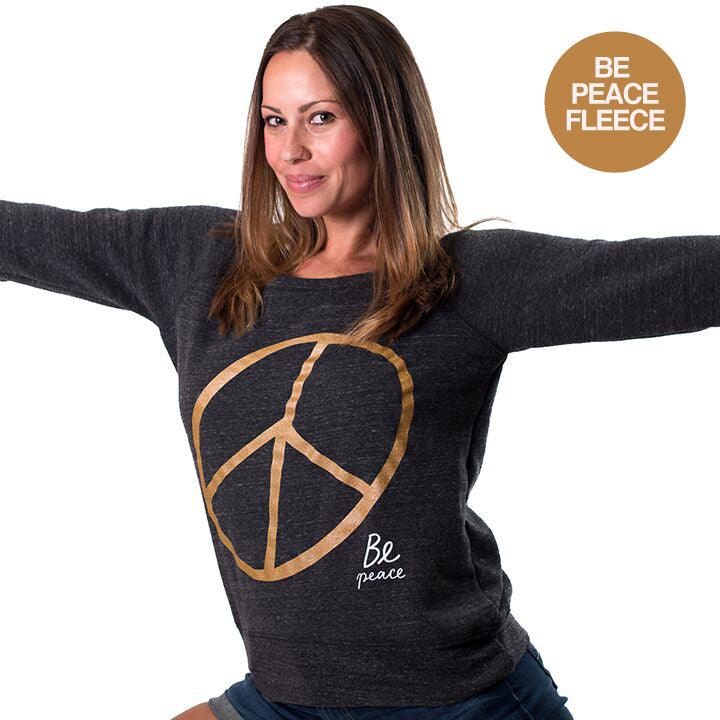 BE PEACE FRONT GOLD OFF THE SHOULDER TRI BLEND FLEECE - Funky Yoga  Gear & Accessories