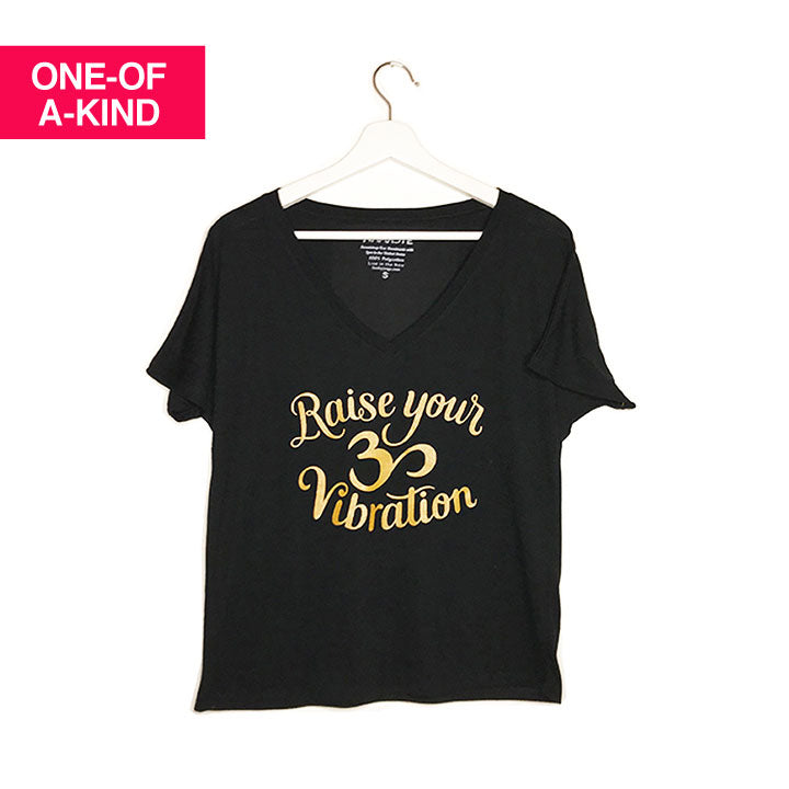 RAISE YOUR VIBRATION ~ BLACK FLOWY V-NECK TEE