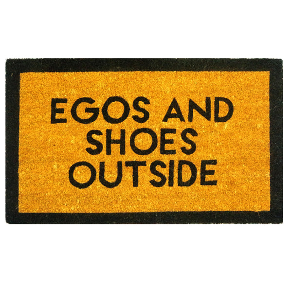 EGOS AND SHOES OUTSIDE PRINTED RECYCLED DOOR MAT - Funky Yoga  Gear & Accessories