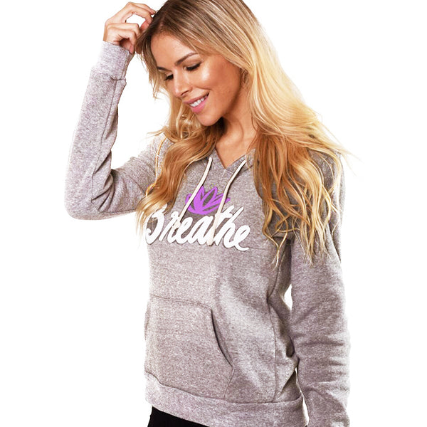 BREATHE LOTUS ~ HEATHER WHITE FLEECE TRIBLEND HOODIE