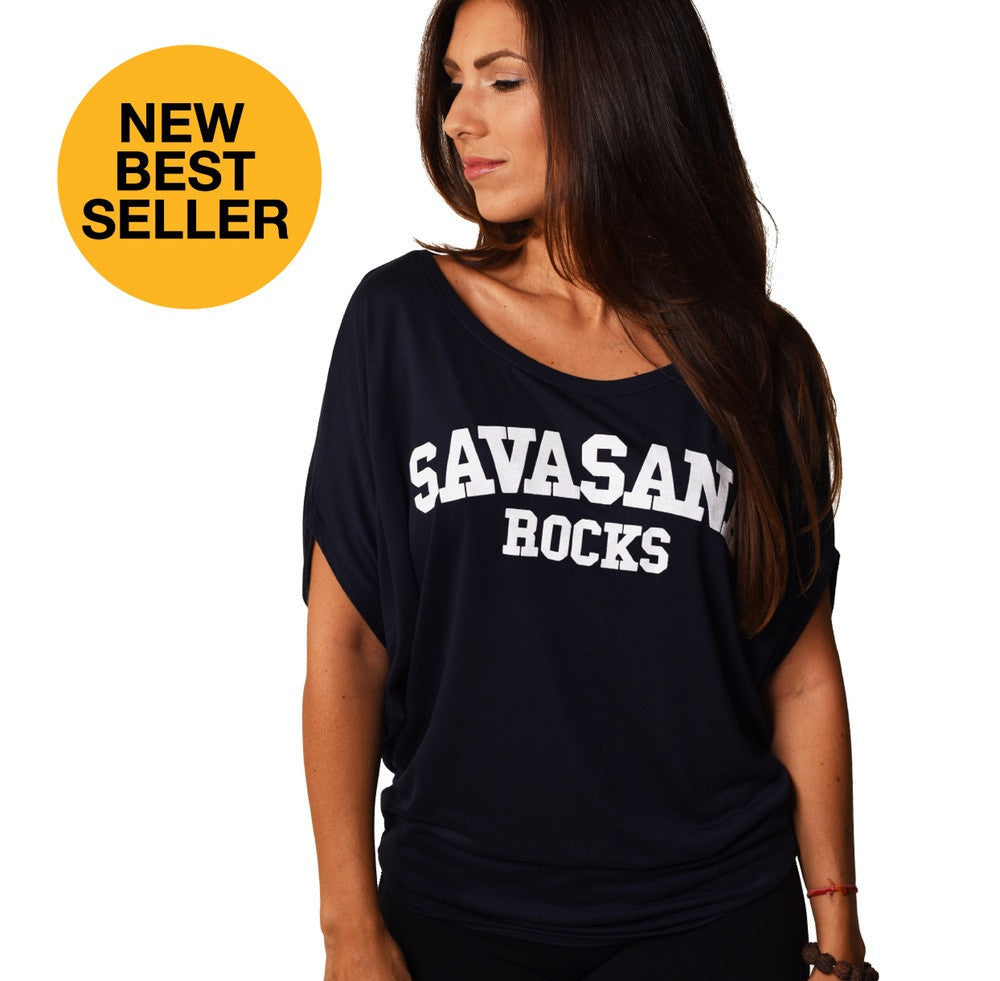 SAVASANA ROCKS FLOWY CIRCLE TOP FY265-FCT-BK - Funky Yoga
