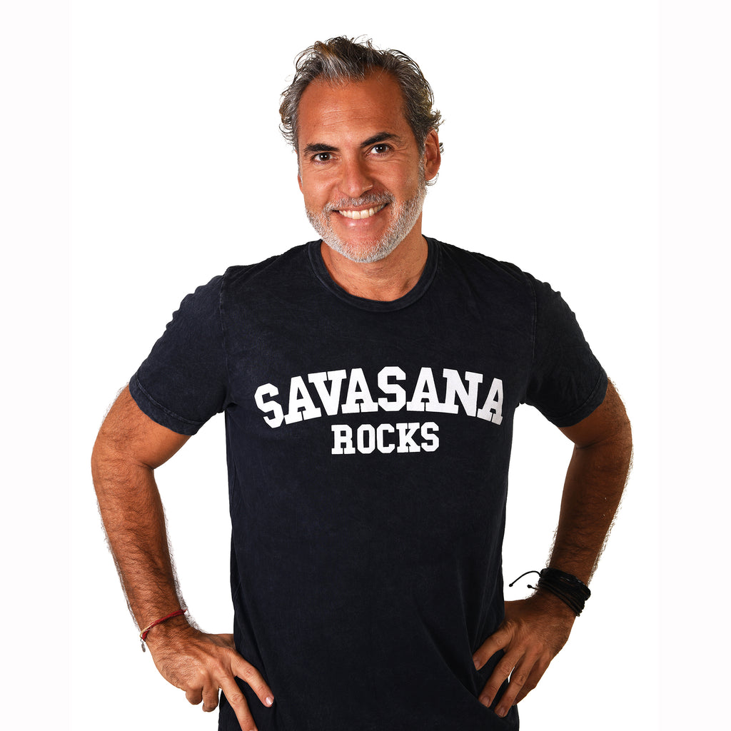 SAVASANA ROCKS ~ MINERAL WASH CREW T-SHIRT