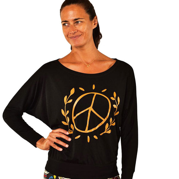 BE PEACE OVERSIZE GOLD FLOWY LONG SLEEVES