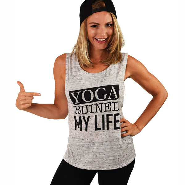 YOGA RUINED MY LIFE MARBLE FLOWY MUSCLE TANK