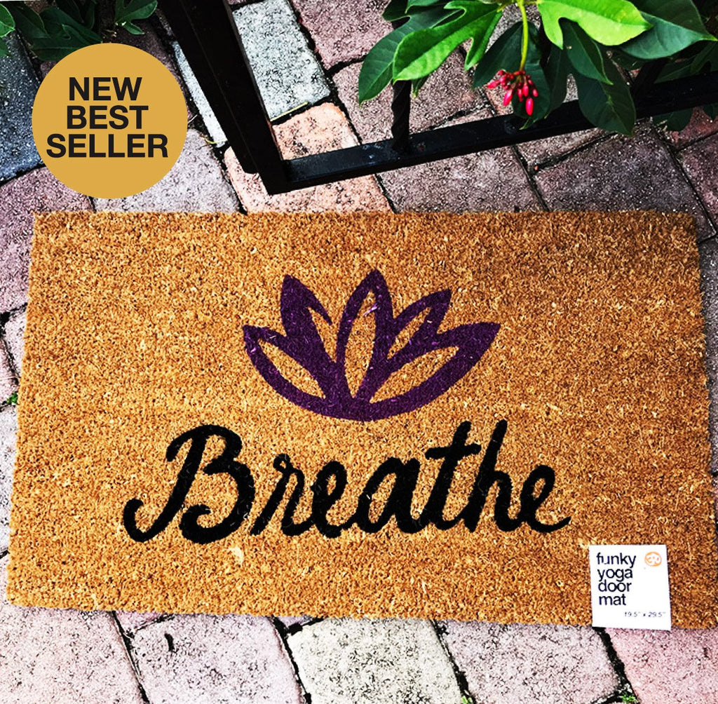 BREATHE LOTUS PRINTED DOOR MAT - Funky Yoga  Gear & Accessories