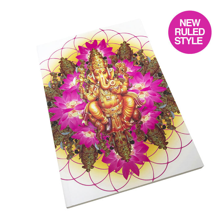 GANESH LOTUS 100% POST CONSUMER RECYCLED RULED NOTEBOOK - Funky Yoga  Gear & Accessories
