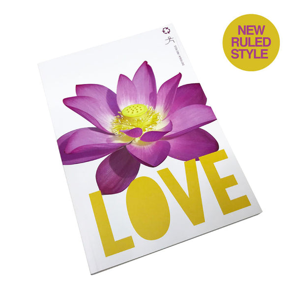 LOVE LOTUS 100% POST CONSUMER RECYCLED RULED NOTEBOOK - Funky Yoga  Gear & Accessories