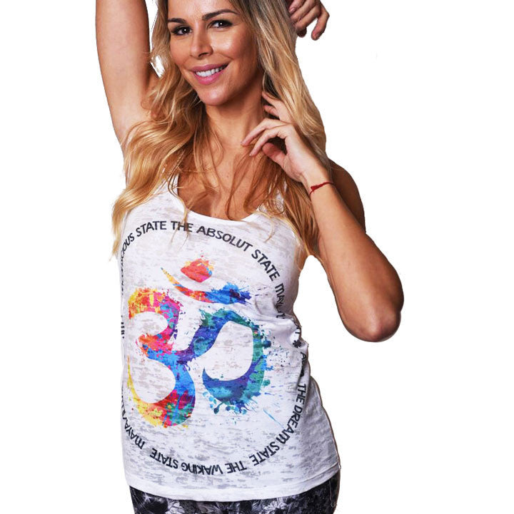 MAYA-ILLUSION SUBLIMATED BURNOUT RACER  FY276-GRT-WH - Funky Yoga  Gear & Accessories