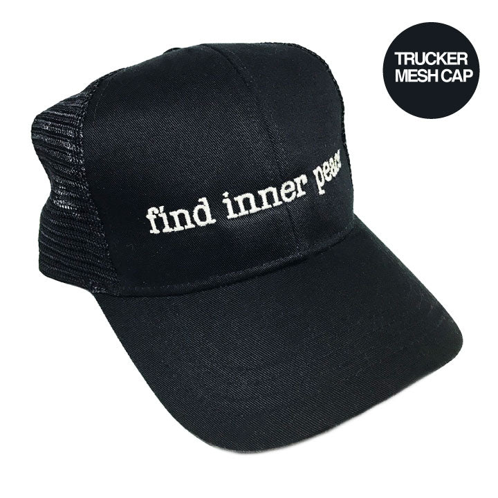 INNER PEACE BLACK ECO UNISEX TRUCKER MESH CAP - Funky Yoga  Gear & Accessories