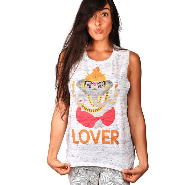 GANESHA LOVER MARBLE FLOWY  SUBLIMATED MUSCLE TANK - Funky Yoga  Gear & Accessories