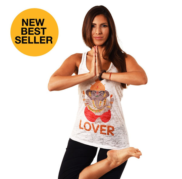 LOVER GANESHA BURNOUT RACER FY285-GRT-WH - Funky Yoga  Gear & Accessories