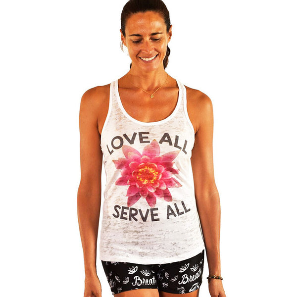LOVE ALL SERVE ALL BURNOUT RACER TANK - Funky Yoga  Gear & Accessories