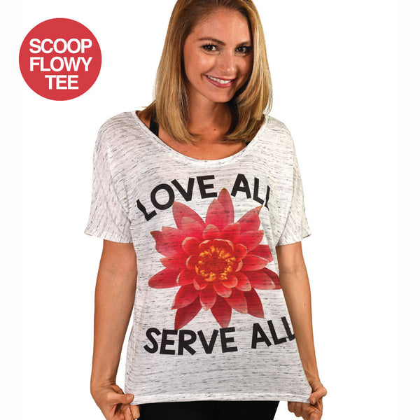 LOVE ALL SERVE ALL SCOOP FLOWY TEE  FY289-SFT-MW