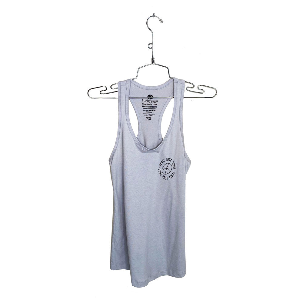 PEACE LOVE YOGA ~ HEATHER  TRIBLEND RACER TANK