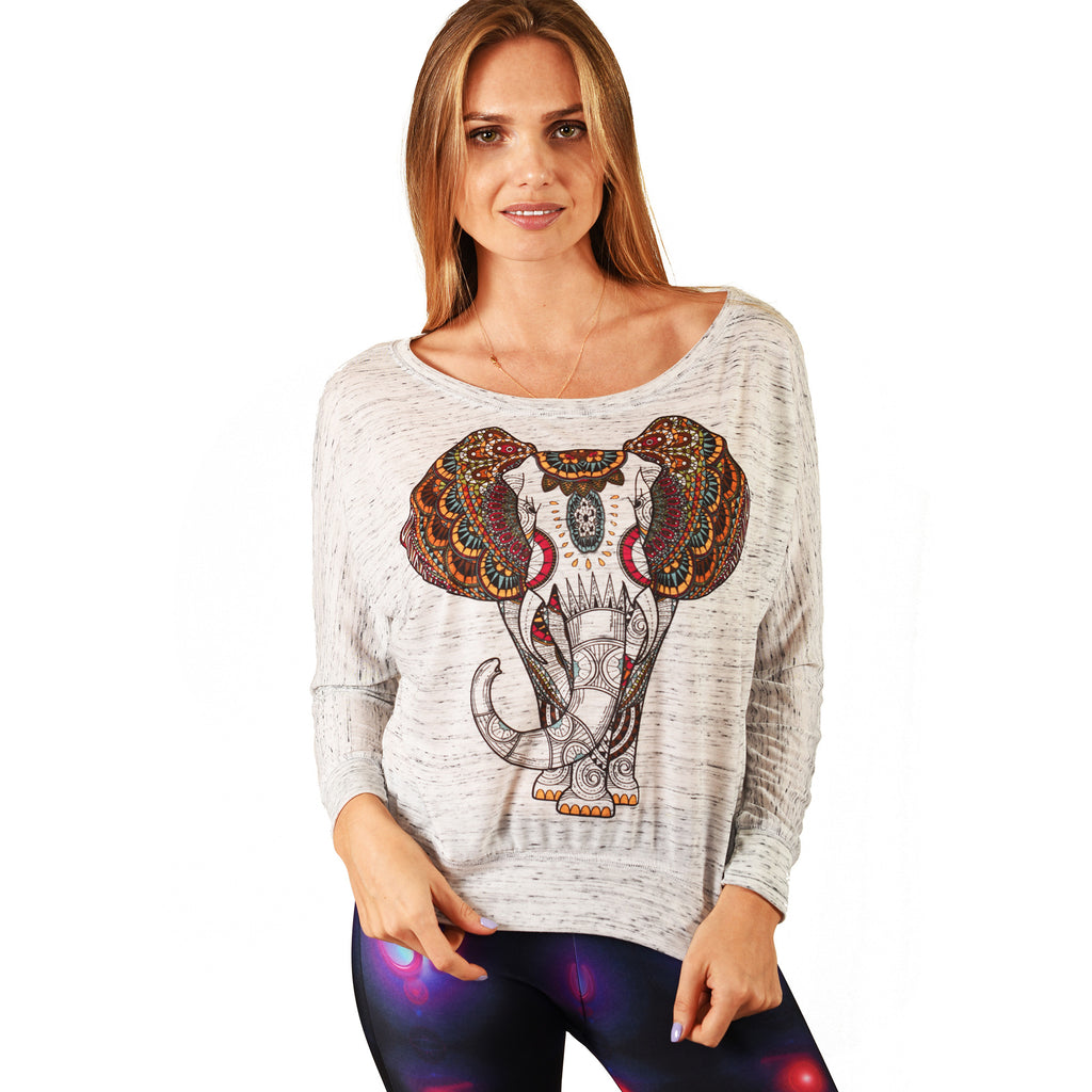 ELEPHANT MARBLE FLOWY LONG SLEEVE - Funky Yoga  Gear & Accessories