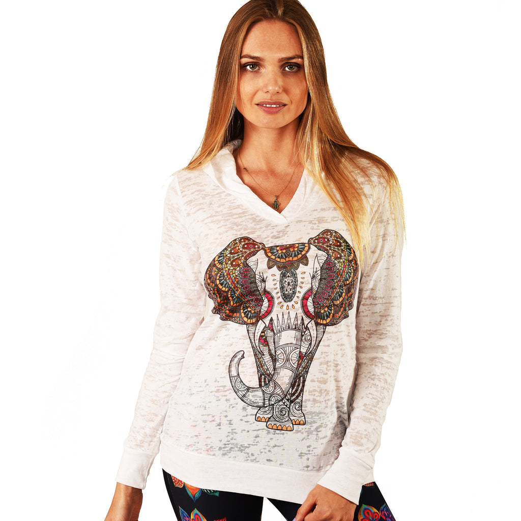 ELEPHANT BURNOUT HOODIE FY301-GBH-WH