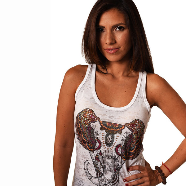 ELEPHANT BURNOUT RACER TANK - Funky Yoga  Gear & Accessories