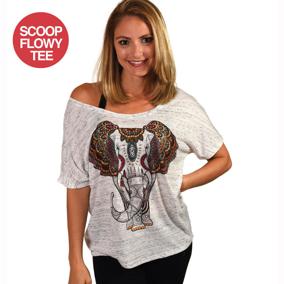 ELEPHANT SUBLIMATED SCOOP FLOWY TEE