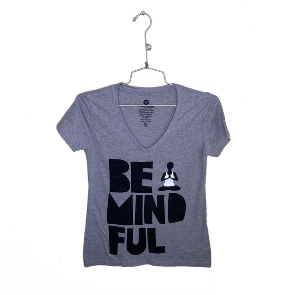BE MINDFUL ~ HEATHER GREY WOMAN COTTON V-NECK