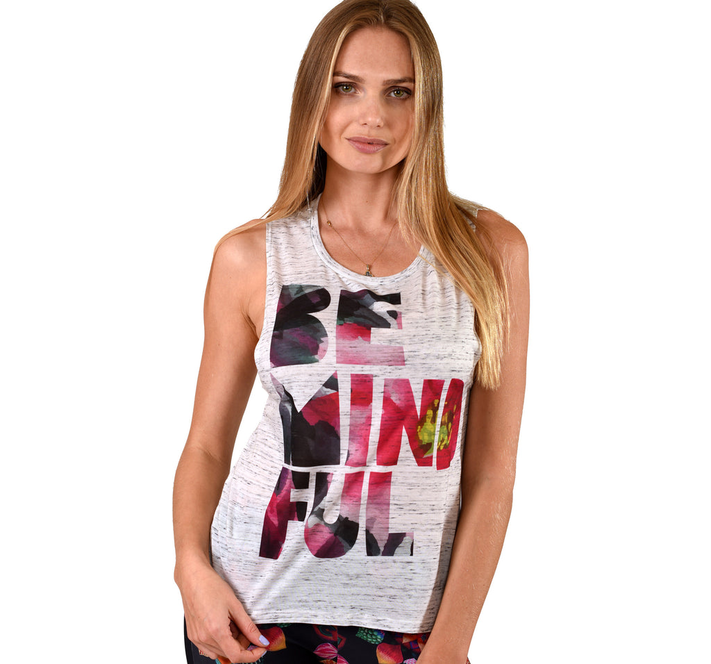 BE MINDFUL MARBLE FLOWY MUSCLE TANK
