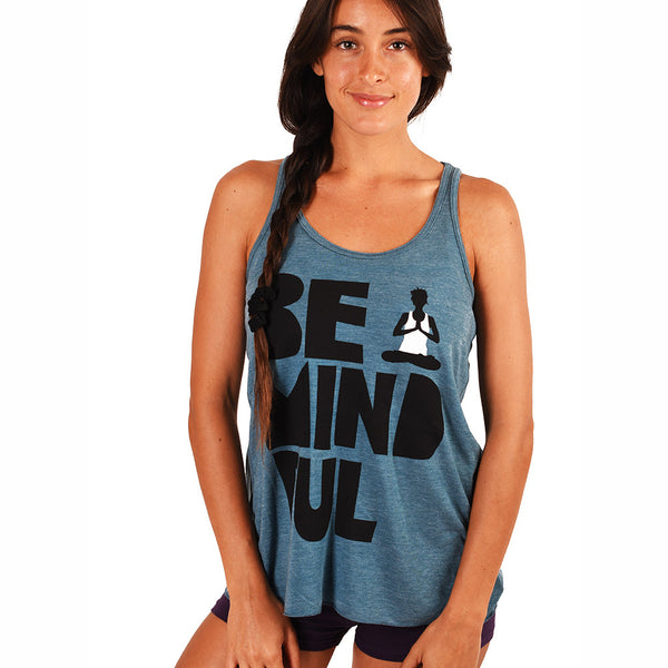 BE MINDFUL HEATHER TEAL FLOWY RACER TANK
