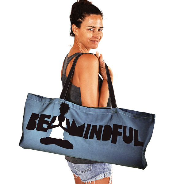 BE MINDFUL ~ STEEL WATERPROOF RECYCLED YOGA TOTE BAG  32X10
