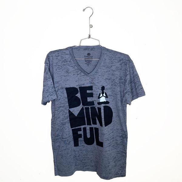 BE MINDFUL ~  MENS BURNOUT V-NECK T-SHIRT