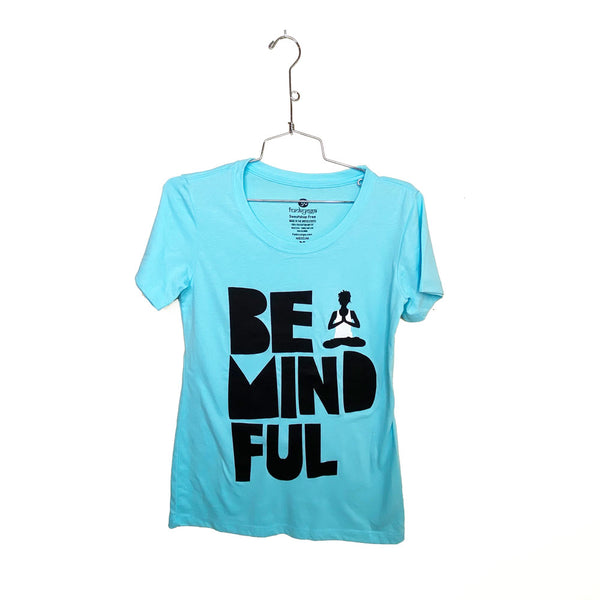 BE MINDFUL ~ CANCUN BLUE OPEN NECK COTTON SHEER TEE