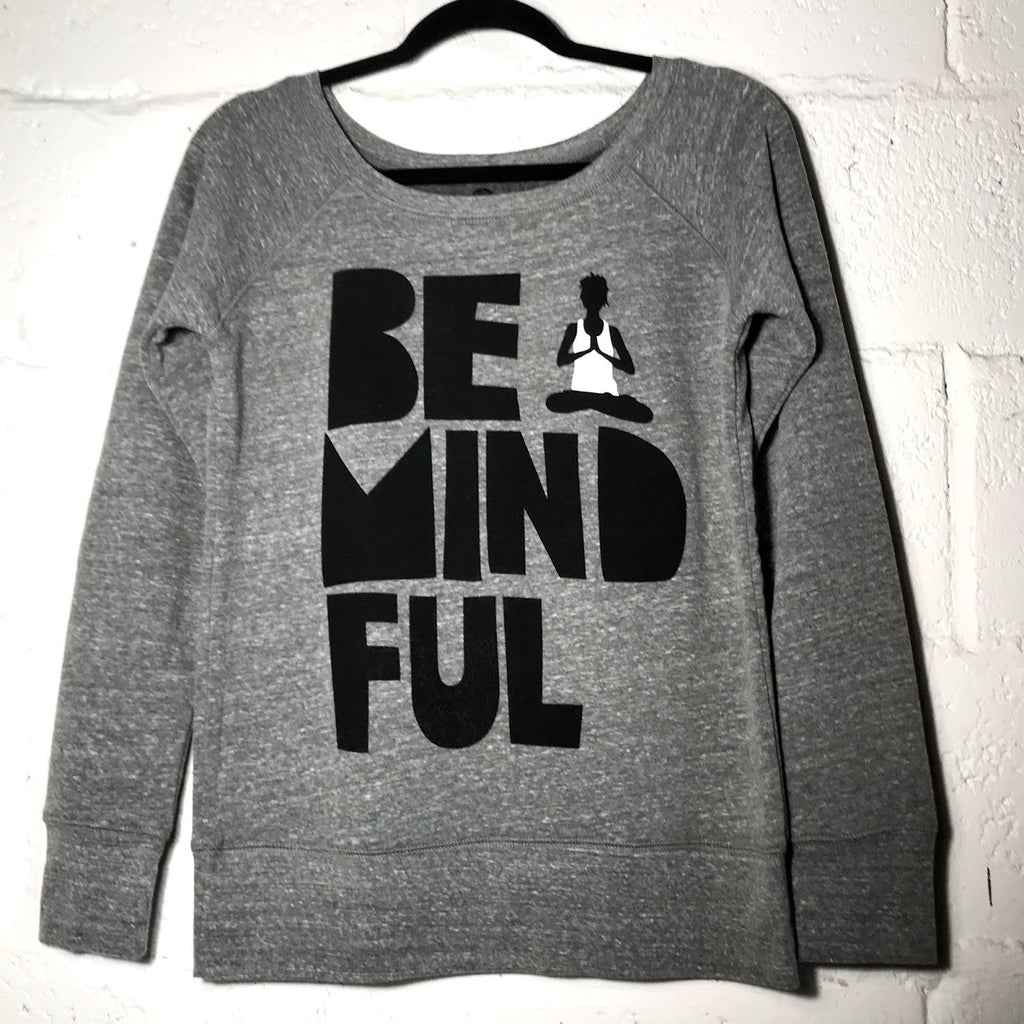 BE MINDFUL HEATHER GREY OFF THE SHOULDER TRI BLEND FLEECE - Funky Yoga  Gear & Accessories