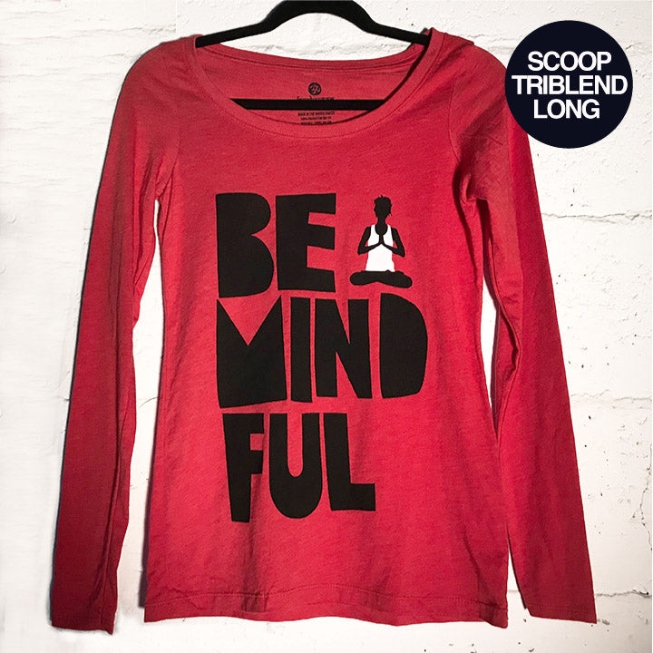 BE MINDFUL HEATHER RED SCOOP TRIBLEND LONG - Funky Yoga  Gear & Accessories