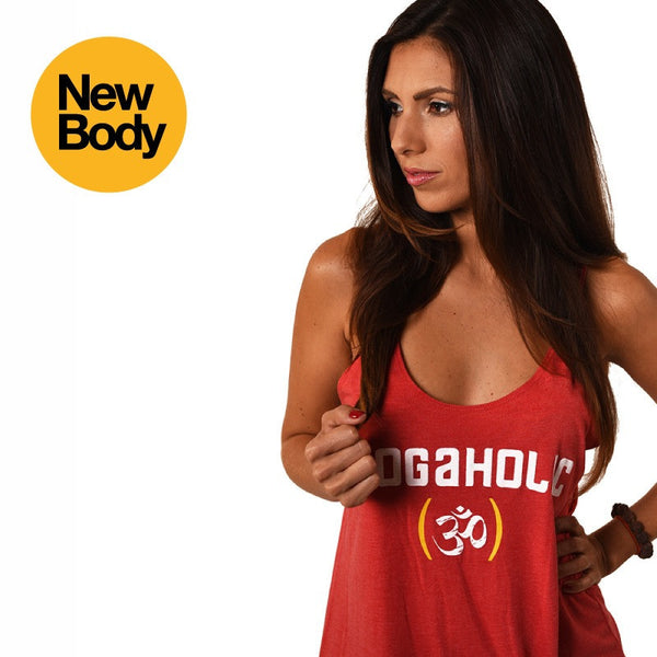 YOGAHOLIC ~ HEATHER RED FLOWY BOXY TANK