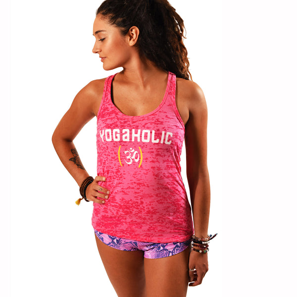 YOGAHOLIC ~ RED BURNOUT RACER TANK