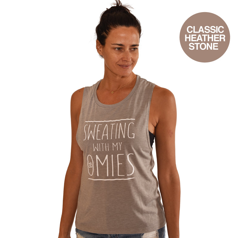 SWEATING ~ HEATHER STONE FLOWY MUSCLE TANK