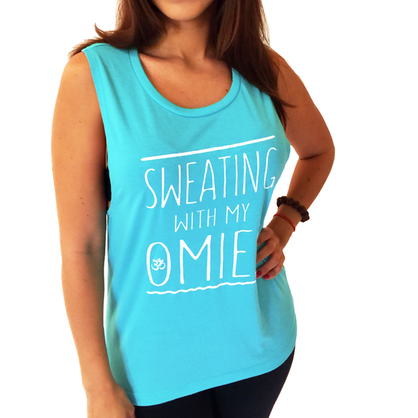 SWEATING ~ AQUA FLOWY MUSCLE TANK (ONLY M)