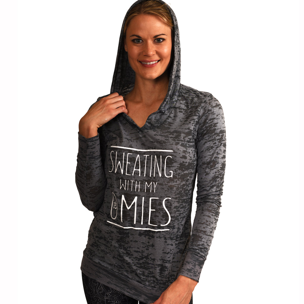 SWEATING ~ DARK GREY CLASSIC BURNOUT HOODIE