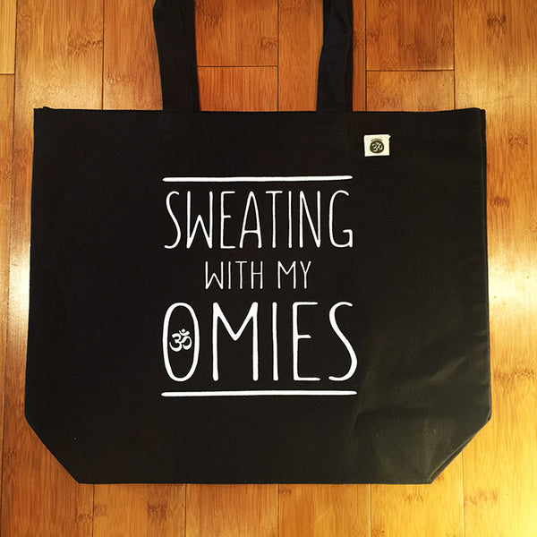 SWEATING WITH MY PMIES ~ 8 OZ BLACK ORGANIC TOTE 19x16