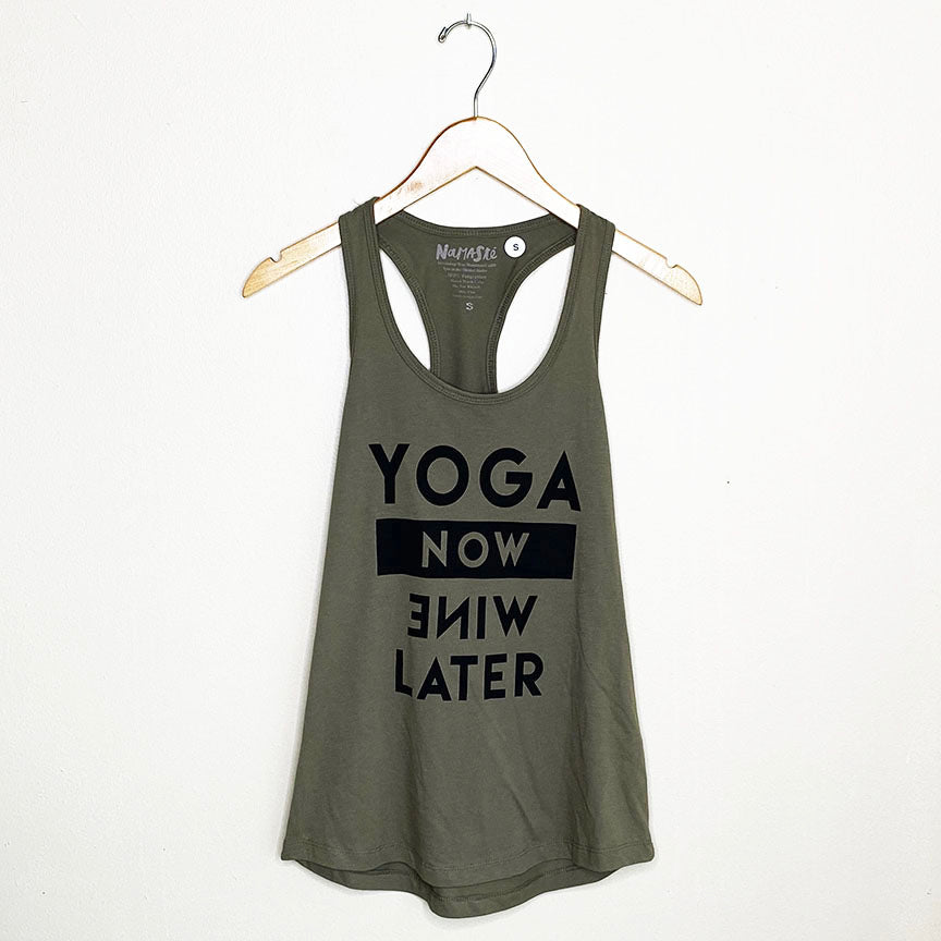 YOGA NOW ~ WARM GREY COTTON RACER TANK (ONLY S)