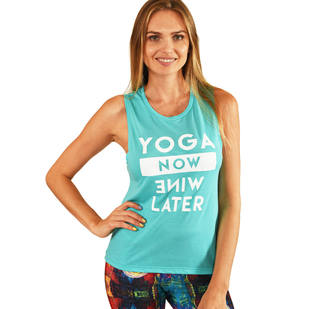 YOGA NOW AQUA FLOWY MUSCLE TANK