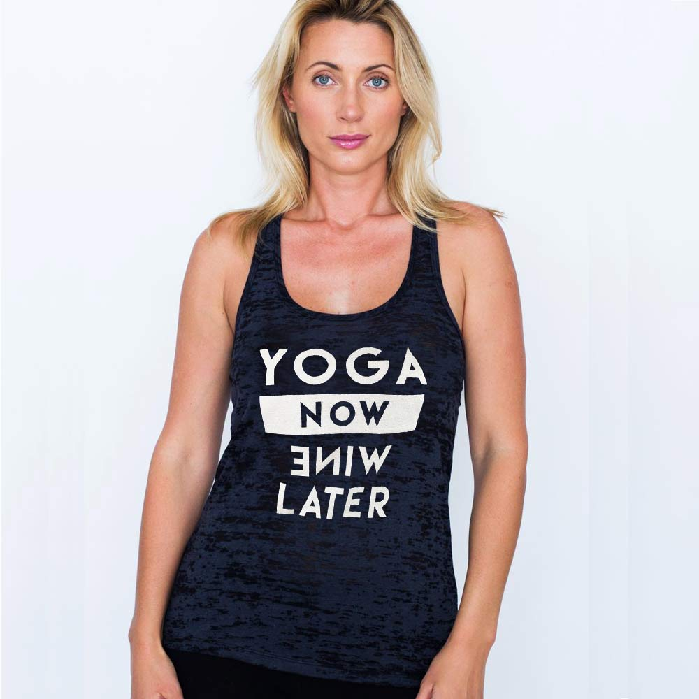 YOGA NOW WINE LATER ~ BLACK BURNOUT RACER TANK