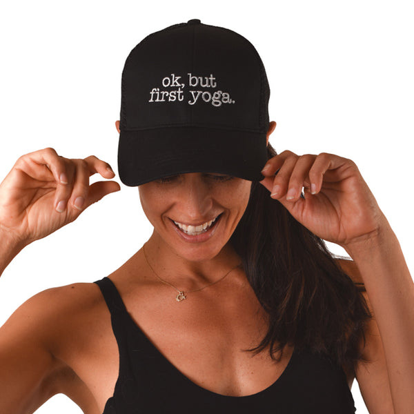 OK BUT FIRST YOGA ~ BLACK CHINO TWILL DAD CAP