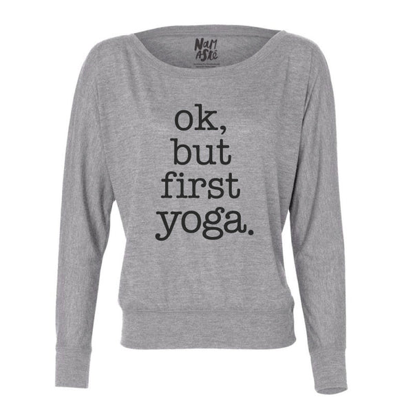 BUT FIRST ~ HEATHER GREY FLOWY LONG SLEEVES