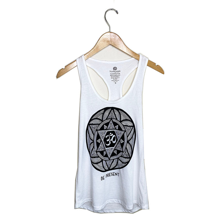 BE PRESENT ~ WHITE COTTON RACER TANK