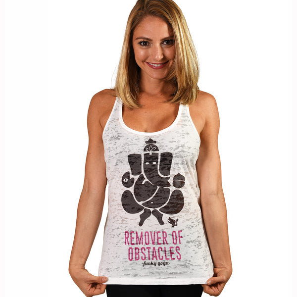 REMOVER OBSTACLES ~ WHITE BURNOUT RACER TANK