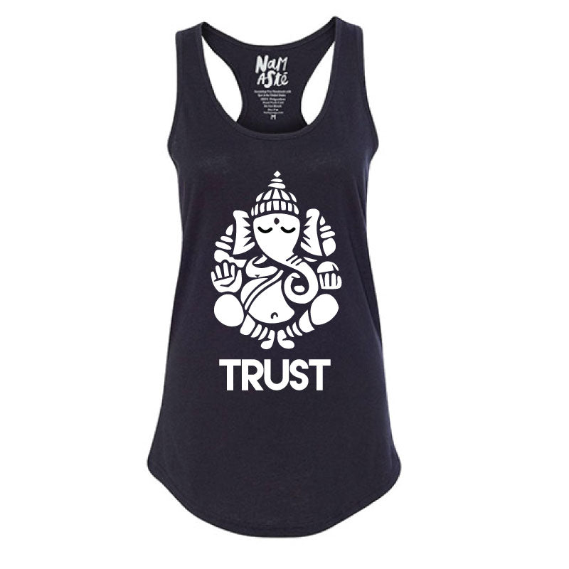 GANESH TRUST BLACK COTTON RACER TANK - Funky Yoga  Gear & Accessories