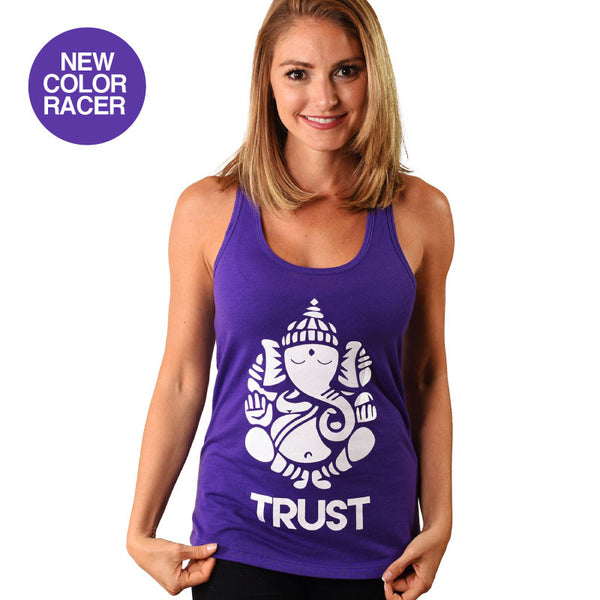 GANESH TRUST PURPLE COTTON RACER TANK