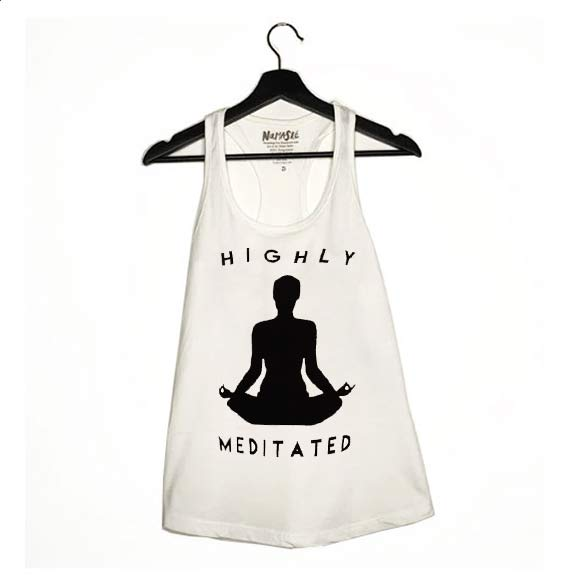 HIGHLY MEDITATED ~ WHITE COTTON RACER TANK (Only XL)