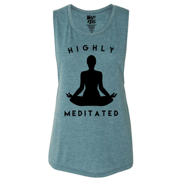 HIGHLY MEDITATED HEATHER TEAL MUSCLE TANK - Funky Yoga  Gear & Accessories